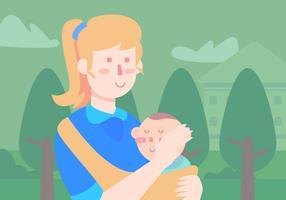 Nounou transportant bébé vecteur