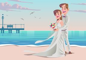 A Couple at their Beach Wedding Vector