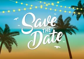 Beach Wedding Save The Date Vector