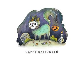 Cute Cat With Catrina Mask Costume Vector