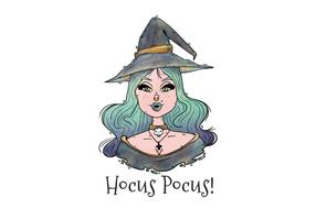 Sexy Witch With Blue Hair Vector