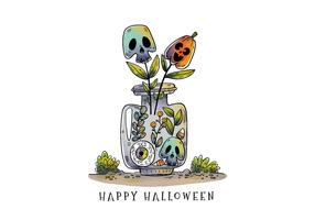 Cute Halloween Bottle with Skull and Pumpkin Plants Vector