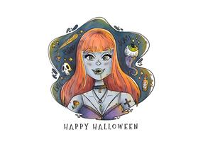 Mujer sexy vampiro con vector de cabello largo naranja