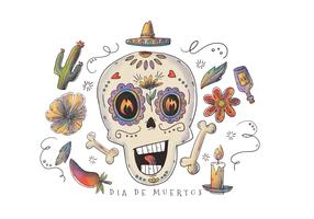 Cute Sugar Skull con elementi floreali per il vettore Dia De Los Muertos