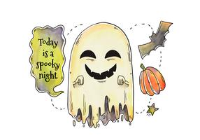 Cute Vector Ghost Laughing With Halloween Elements Around