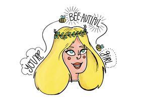 Akvarellkvinna Karaktär Med Bee Och Motivational Citat Vektor