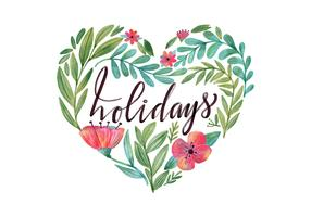 Holiday Watercolor Flowers and Leaves Vector