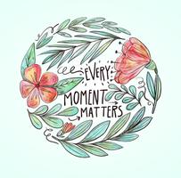 Watercolor Flowers, Leaves, And Branch With Lettering Vector
