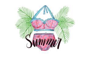 Vector Watercolor Palms and Lettering with Swimwear for Summer Holiday