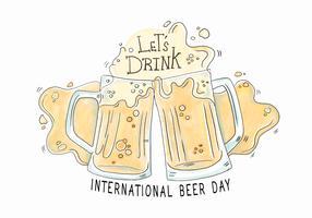 Vattenfärg öl dag vektor