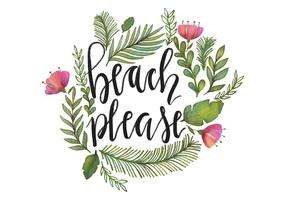 Beach Please Watercolor Lettering Vector