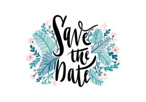 Watercolor Lettering Save The Date Vector