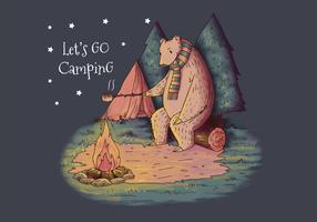 Cute Bear Wearing Scarf Camping en el vector de maderas