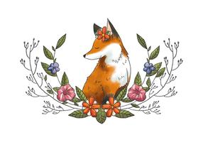 Lindo Fox Animal Forest con hojas y flores Vector