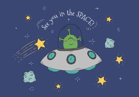 Cute Alien With Spacecraft Vector
