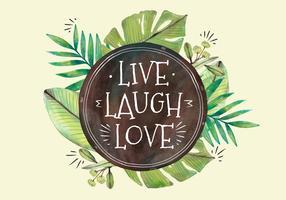 Söta tropiska gröna blad med citat
