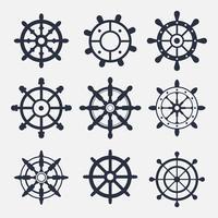 Vetores do ícone da roda do navio