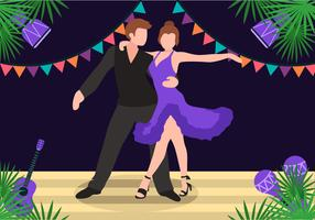 Salsa dansant sur vecteur de scène