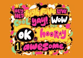 Colorido vector de letras de mano positiva