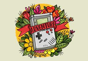 Vecteur de tatouage Flower Gameboy