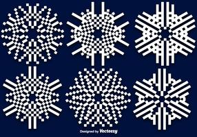 Flat 8-bitars Vector Snowflakes