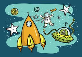 Space Rocket Ship & Alien Vector