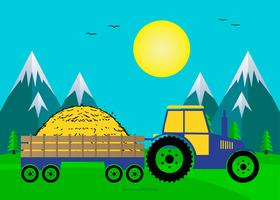 Cute Landscape Scene with Hay Wagon vector