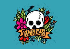 Skull Flowers and Monday Banner Vector