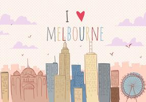 I Love Melbourne Vector Background