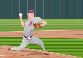 Pitcher with Glove Vector