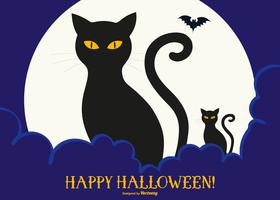 Cute Black Cats Happy Halloween Illustration
