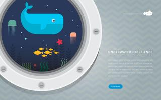 Submarine porthole with underwater exploration