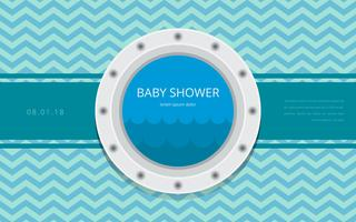 Porthole Baby Shower Template Uitnodiging Vector