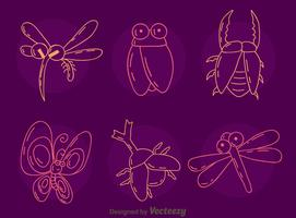 Sketch Insect Collection Vector