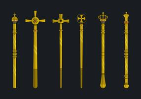 Golden Sceptre Flat Vector Collection Illustration