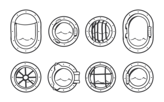 Vettore delle icone dell'oblò