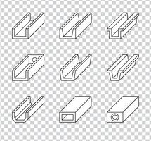 Roof Gutter Or Rain Gutter For Drainage System Icons