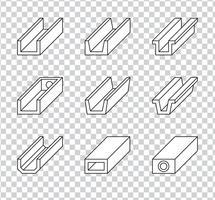 Goteira de telhado ou Gutter de chuva para ícones do sistema de drenagem