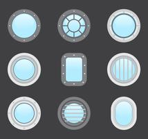 Various Portholes Shape And Color For Airplanes Ships And Submarines vector