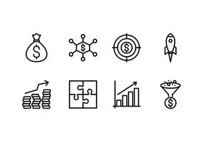 Revenue set linear icon vector