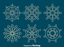White Line Ships Wheel Vector