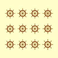 Ships Wheel Icons Collection vector