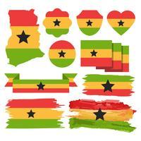 Mapa livre de Gana e vetor de bandeira