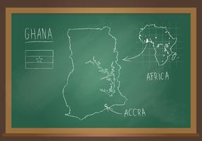 Ghana Map Chalk Black Board Vector