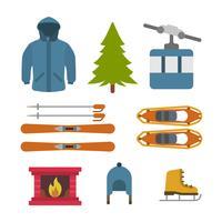 vectores esenciales de invierno plano