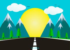 Flat Style Landscape with Highway Illustration