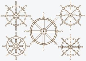 Ships Wheel Set Line Vector