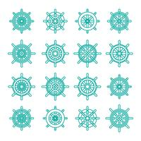 Ships Wheel Icon Linear Set