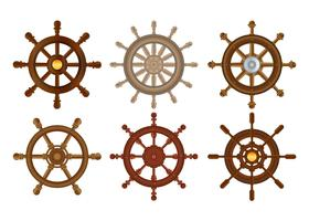 Ship wheel vector set