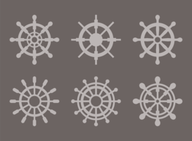 Ships Wheel Silhouette Vectors